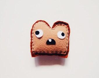 "3.5"" Tall Silly Goofy Medium Brown Toast Felt Plush Toy"