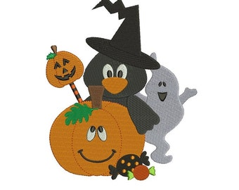 Pumpkin Crow and Ghost Halloween Filled Machine Embroidery Digitized Design Pattern  - Instant Download - 4x4 , 5x7, and 6x10