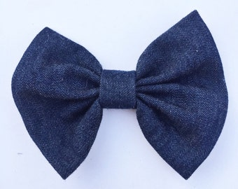 Dark Denim clip on bow tie