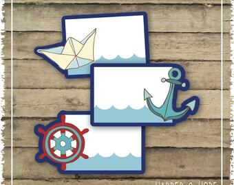 Nautical 1st Birthday Boy Party - Food Tags - Printables