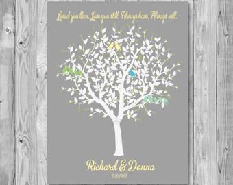 50th Anniversary Art Print Gift, Anniversary Tree Art Print, Wedding Art Print Gift 233