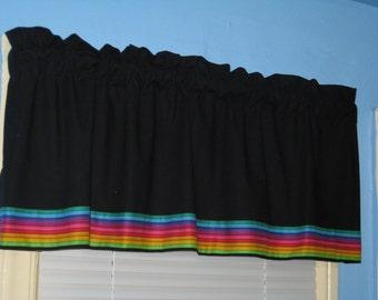 Handmade 100% KONA Cotton BLACK  with RAINBOW Trim Window Curtain Valance Topper