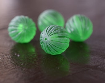 Vintage Green Frosted Melon Ribbed Beads, 15mm, 10pcs