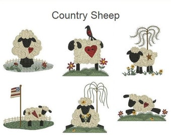 Country Sheep Machine Embroidery Designs Instant Download 4x4 hoop 10 designs SHE5049