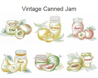 Vintage Canned Jam Machine Embroidery Designs Instant Download 4x4 5x5 6x6 hoop 10 designs SHE5074