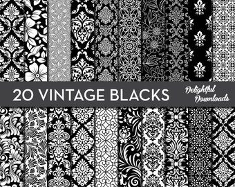 "Black & White Floral Digital Paper ""20 VINTAGE BLACKS"" with 20 black floral damask digital papers for scrapbooking, cards, prints."
