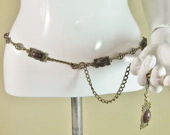Vintage Retro chain belt link belt 5 brown stone details size 14-16 R4566