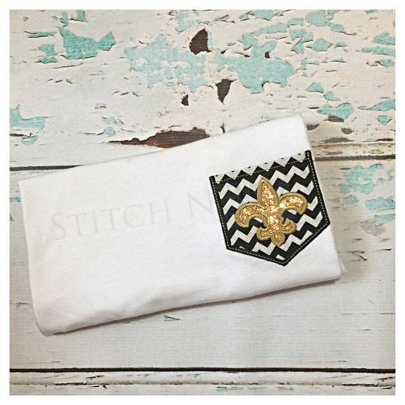 Black and Gold Pocket Tee with Glitter Fleur de lis Shirt or Bodysuit