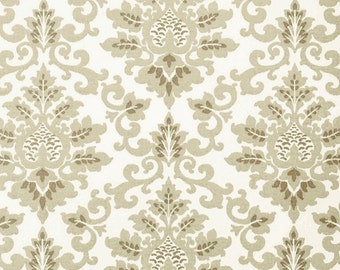 Neutral Grey Brown Cotton Damask Fabric by the Yard Designer Drapery or Upholstery Fabric Taupe Grey Tan Contemporary Home Decor Fabric B187