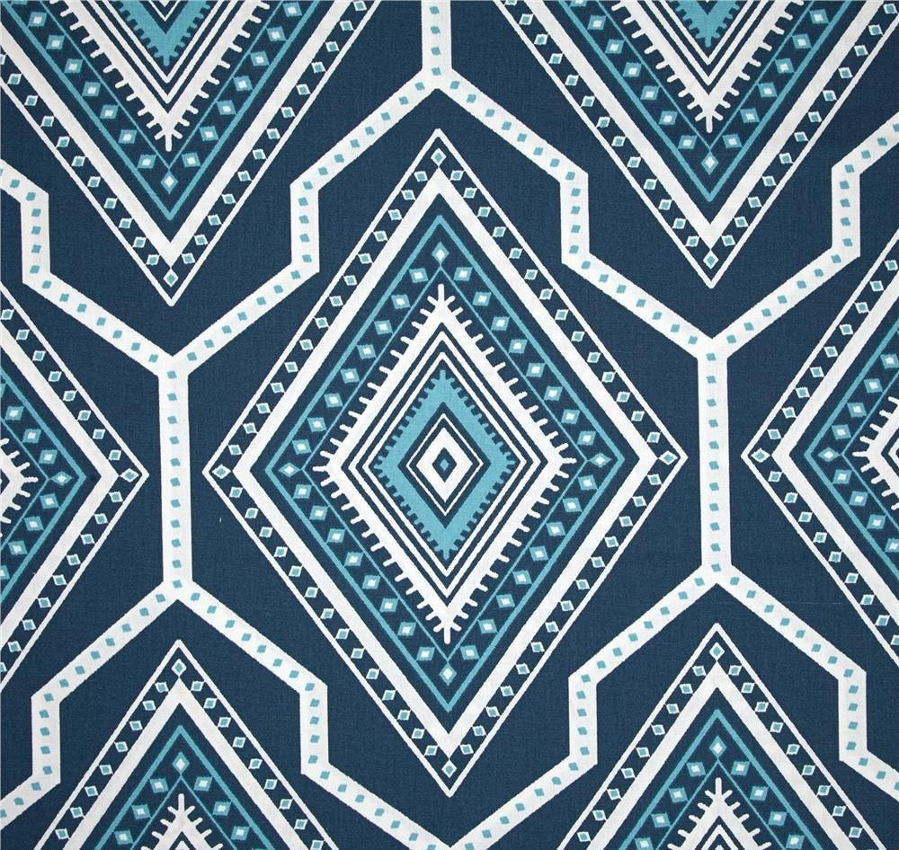Navy Blue Aztec Fabric By The Yard Designer Cotton Drapery
