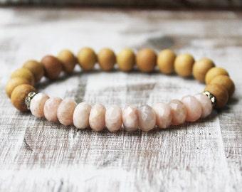 Sunstone Sandalwood Mala Healing Bracelet Boho Bracelet Wood Bracelet Yoga Bracelet