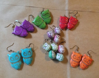 Multicolored Owl Earrings