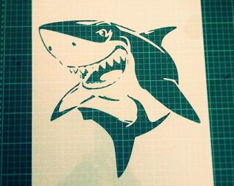Shark STENCIL for home wall interior decor / reusable wall kids stencil