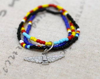 Tribal Colorful Eagle Charm Beaded Bracelet, Elastic Bracelet, Tribal Print, Tribal Beaded Bracelet, Metal Charm, Charm Bracelet