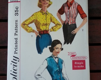 """1957 SIMPLICITY pattern 2240 Size 11 Bust 31 1/2"""" / unit construction / simple to make"""