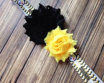 Pittsburg Steelers inspired Black and Yellow Shabby Flower Headband, Baby Headband, Toddler Headband, Girls Headband