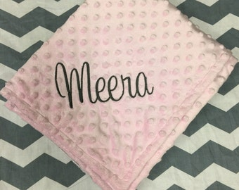 So Soft! Cuddly Baby Pink Monogrammed Minky Baby Blanket! Personalized for  Baby Girl!