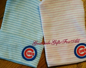 Newborn Hospital Hat! CHICAGO CUBS Baseball! Choice of Hat Colors. Boy or Girl! Newborn Beanie Baby Hat! Go Cubs! Great Gift!