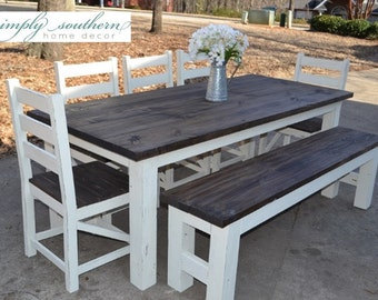 Farmhouse Table W Square 4 X Legs Custom Built