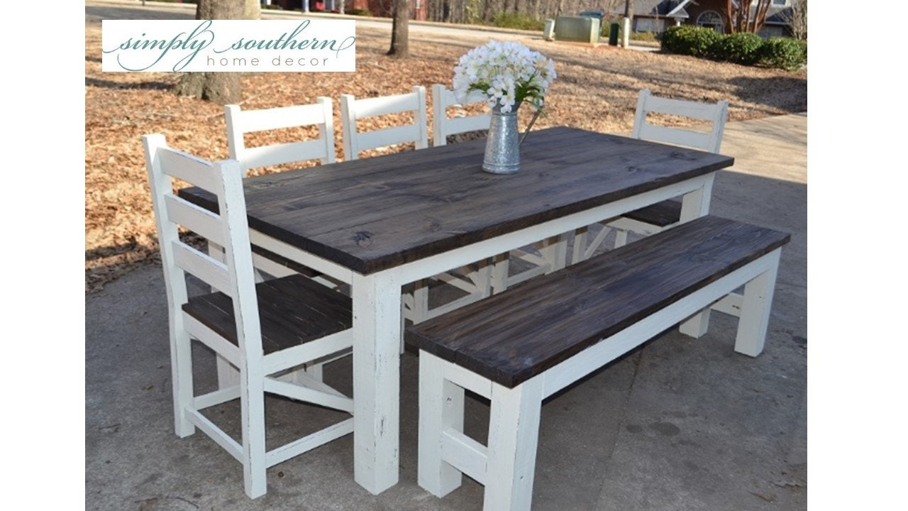 Farmhouse table w square 4 x 4 legs custom built for Farmhouse table plans with x legs
