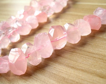 Natural Rose Quartz Beads Faceted Pink Crystal Quartz Beads Gemstone Bead Healing Stone