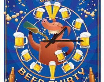 Beer Thirty Novelty Hardboard Wall Clock