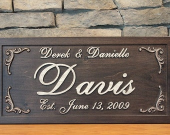 Family Name Sign Anniversary Gift First and Last Name Sign Carved Wood Sign Personalized Sign Distressed Established Family Name Sign
