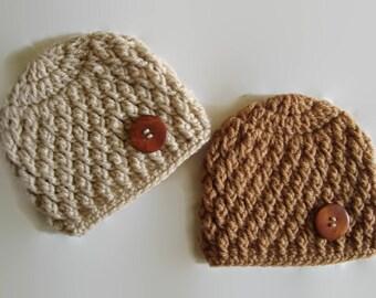 Newborn boy hats, twin boy hats, twin button beanies, hospital twin hats, twin take home, newborn twin outfit, newborn twin hats