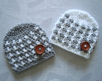 Newborn twin hats, twin boy hats, newborn boy hats, twin hospital hats, hats for twin boys, crochet twin hats, baby boy hats, twin hat set
