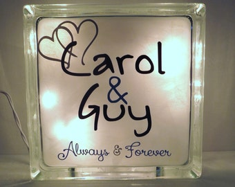 Personalized Wedding Gift Glass Block, Anniversary Gift, Couple Gift, Custom Gift, Night Light, Home Decor, Wedding Shower, Bride and Groom