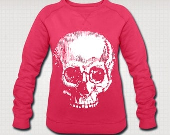 Vintage Skull Print Ethically Produced Sweatshirt Sweater For Women. Organic Cotton. Sizes S-XXL. Black Or Pink.