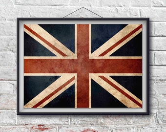 British Flag Print, British Poster,  British Flag Art, British Art Print, Wall Decor, World Poster, Union Jack [PXCF036-P]