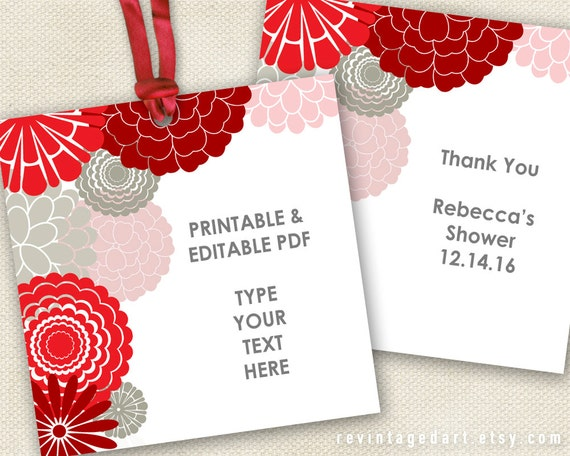 Printable Red Tags Floral Design With Red Gray Modern