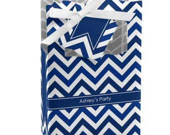 12 Chevron Navy Favor Boxes - Custom Baby Shower and Birthday Party Supplies