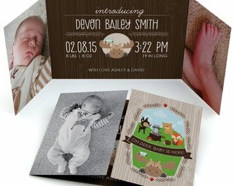 Woodland Photo Birth Announcement - Woodland Creatures Custom Baby Announcement - Woodland Animals Birth Announcement - Set of 12