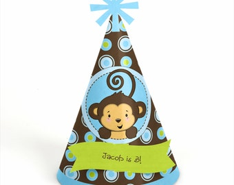 8 Monkey Boy Birthday Party Hats - Personalized Animal Birthday Party Supplies - Set of 8