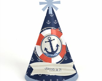 8 Nautical Birthday Party Hats - Personalized Ahoy! Nautical Birthday Party Supplies - Set of 8