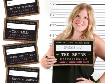 Girls Night Out Funny Mug Shots - 20 Piece Bachelorette Party Photo Booth Props Kit