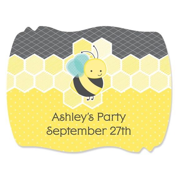 16 Custom Honey Bee Squiggle Stickers