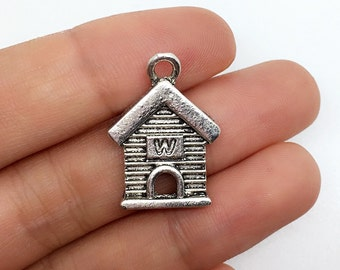 25 pcs  Antique Silver House Charms  ,  House Pendants   ,Findings ,