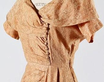 "Peach Lace Cocktail Dress 26""W"