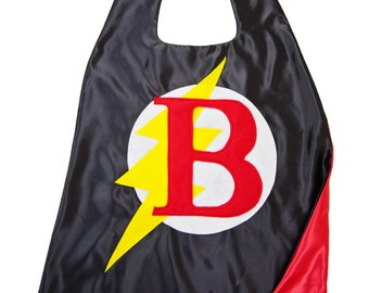 Superhero Cape for Boys . Black and Red Superhero Cape . Lighting Bolt Cape . Customized Gift . Free Mask - Quick Shipping