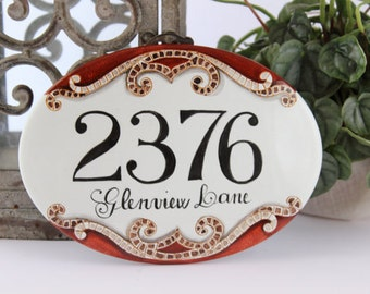 Custom Mosaic house number Plaque, House number, House number sign, Address number Plaque, Home sign