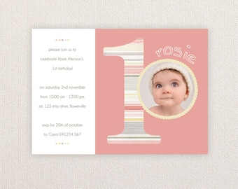 Photo Birthday Invitations. Girls 1st birthday. I Customize, You Print.