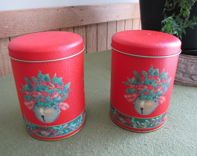 Christmas Tins Red and Bells Small Christmas Containers Set of Two (2) Holiday Cookie or Candy Tins Vintage Holiday Storage and Gifts
