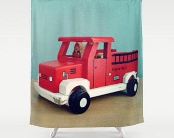 Fire Truck Shower Curtain: Home decor, boy's decor, bathroom, emergency vehicles, red, aqua, blue, toy, truck
