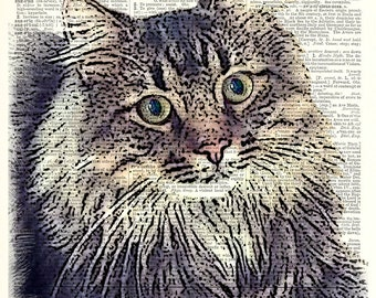 "CUSTOM pet portrait print-  Brad - Black with Color.  Vintage book page art print. Fits 8""x10"" frame."