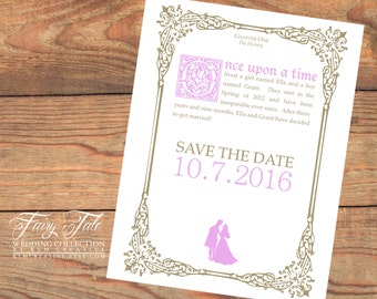 Fairy Tale Wedding Collection - Sleeping Beauty Elegant Storybook Save the Date Postcard