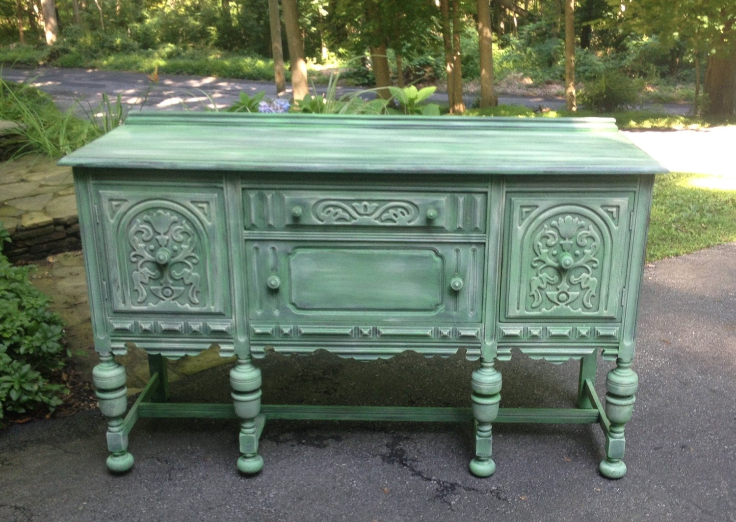 Refinished romantic country antique sideboard buffet chalk for Painted buffet sideboard