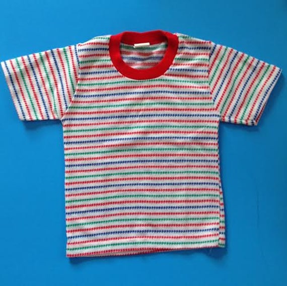 Vintage 70 39 s striped tee shirt vintage red blue green for Red blue striped shirt